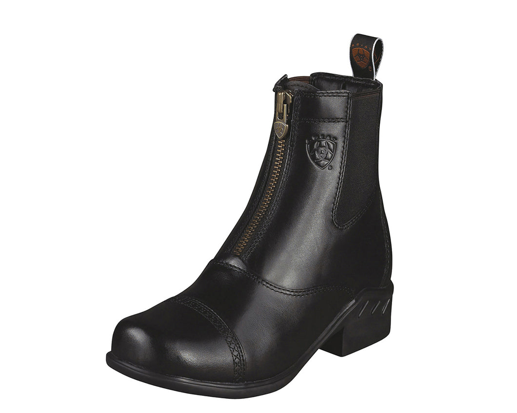Women's Ariat Heritage Round Toe Zip Paddock Boot in Black from the front