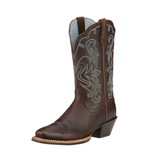 Women's Ariat Legend Western Boot in Brown Oiled Rowdy from the front