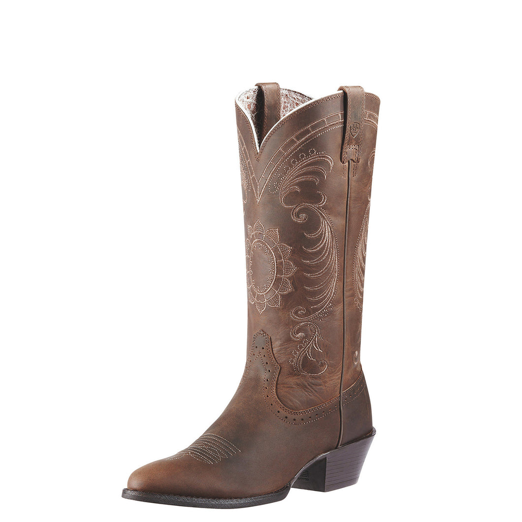 Women's Ariat Magnolia Western Boot in Distressed Brown from the front