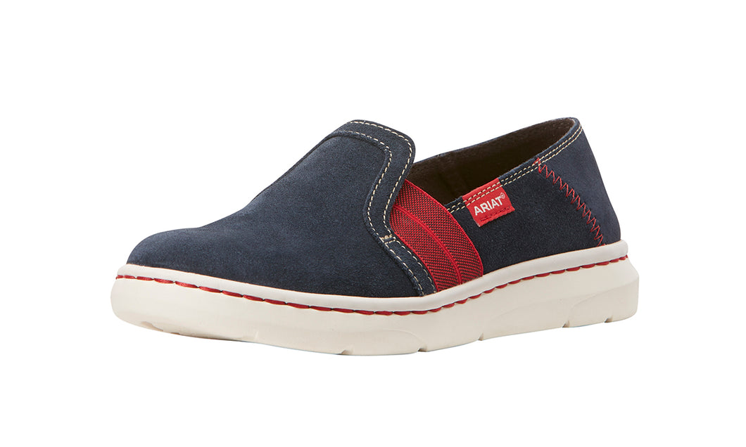 Women's Ariat Ryder Slip-on Shoe in Team Navy from the front