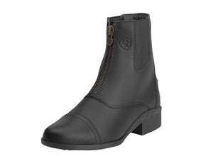 Women's Ariat Scout Zip Paddock Boot in Black from the front