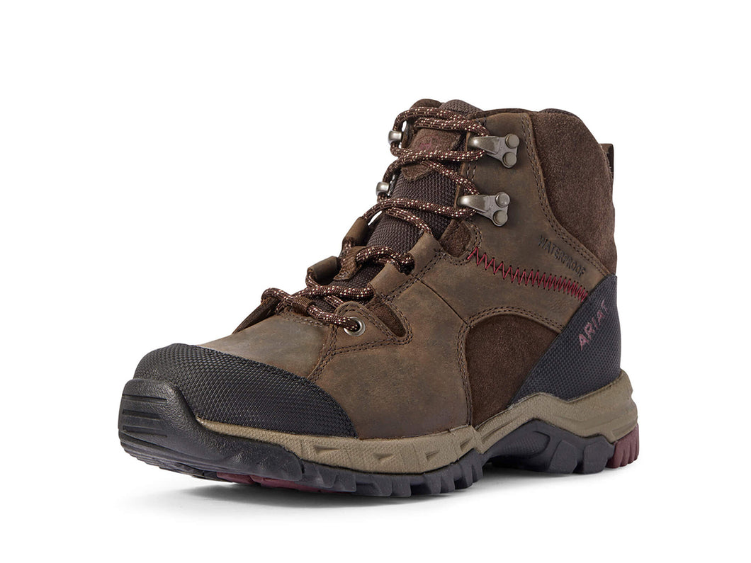 Women's Ariat Skyline Mid Waterproof Hiking Boot in Dark Brown from the front