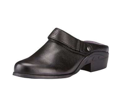 Women's Ariat Sport Mule in Black Deertan from the front