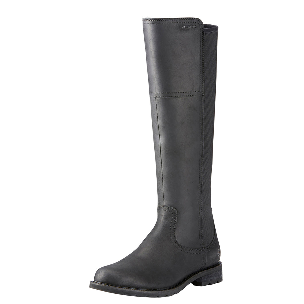 Women's Ariat Sutton Waterproof Country Boot in Black from the front