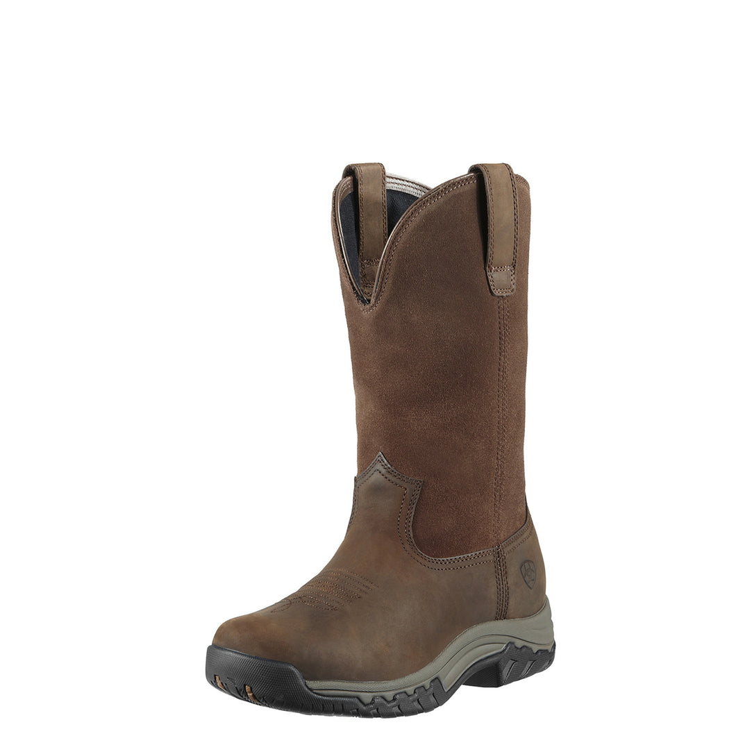 Women's Ariat Terrain Pull On Waterproof Riding Boot in Distressed Brown from the front