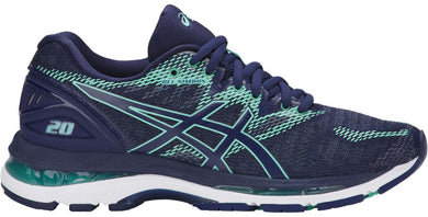 Women's Asics Gel-Nimbus 20 Running Shoe in Indigo Blue/Indigo Blue/Opal Green