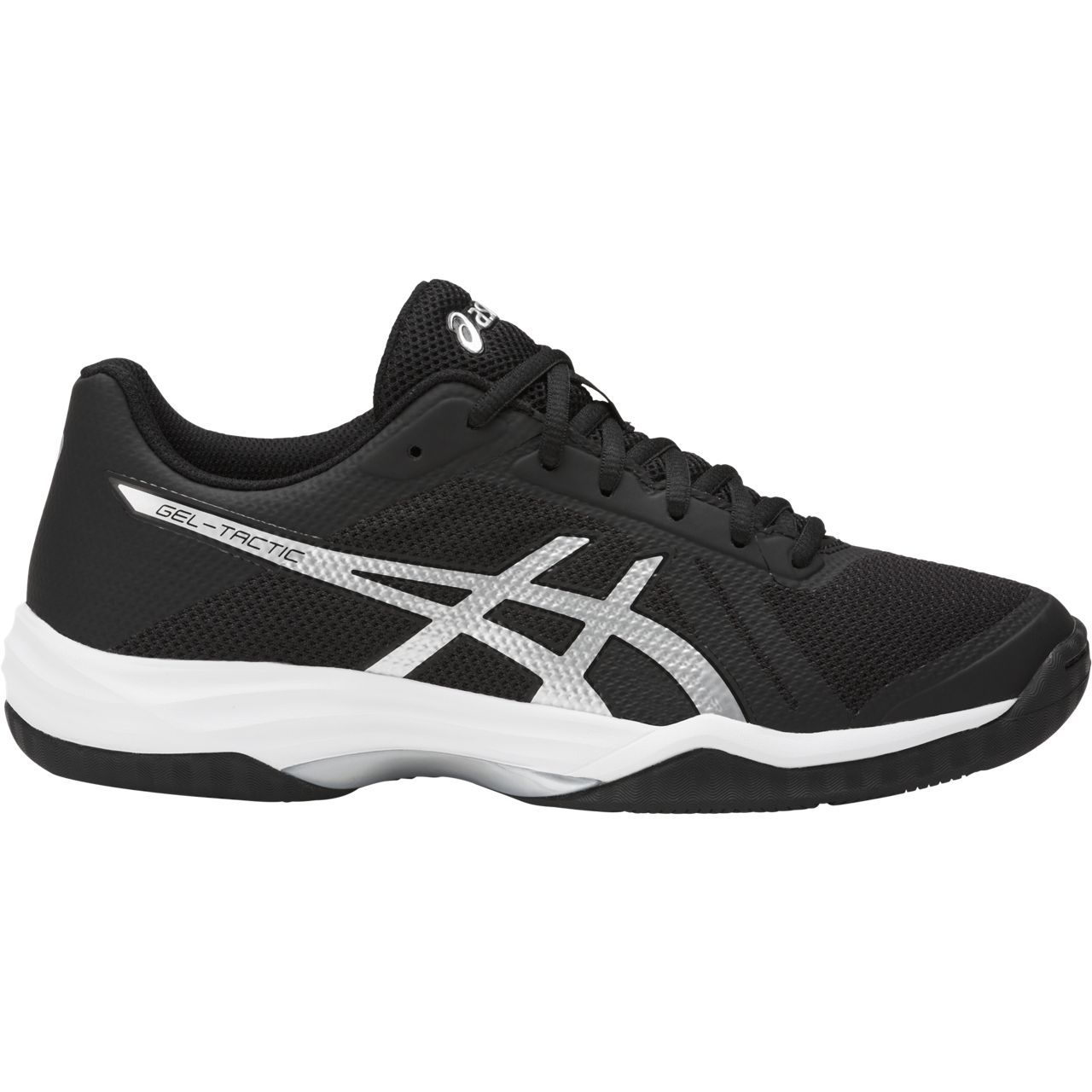 Women's Asics Gel-Tactic 2 Volleyball Shoe in Black/Silver/White