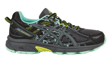 Women's Asics Gel-Venture 6 Running Shoe in Black/Carbon/Green