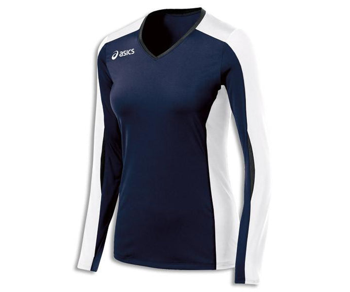 Women's Asics Roll Shot Performance Jersey Long Sleeve Shirt in Navy/White