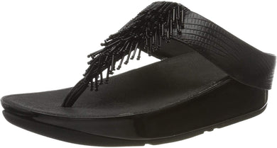 Women's FitFlop Cha Cha Leather Sandal in Black Side Angle View