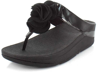 Women's FitFlop Florrie Toe-Post Sandal in Black Side Angle View