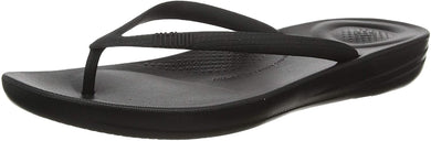 Women's FitFlop Iqushion Ergonomic Flip-Flops in All Black Side Angle View