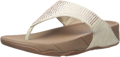 Women's FitFlop Rokkit Jewelled Sandal in Nude Side Angle View