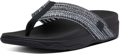 Women's FitFlop Surfa Flip Flops in All Black Side Angle View