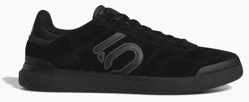 Women's Adidas Five Ten Slueth DLX Biking Shoe in Black/Grey Six/Matte Gold from the side