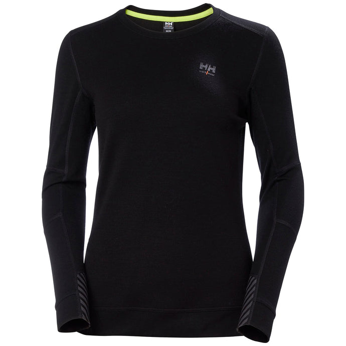 Helly Hansen Women's Lifa Merino Crewneck in Black from the front