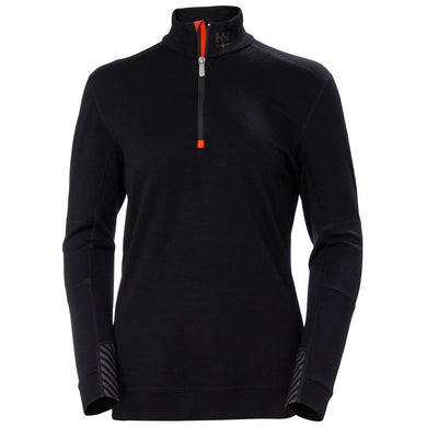 Helly Hansen Women's Lifa Merino Half Zip in Black from the front