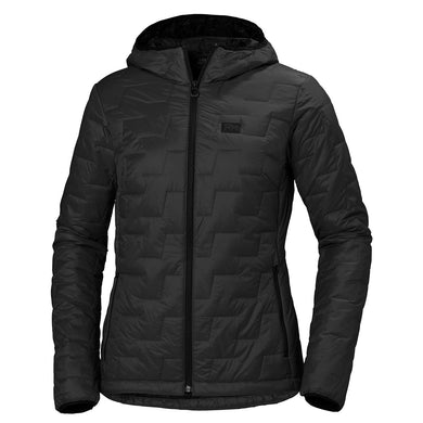 Helly Hansen Women's Lifaloft Hooded Insulator Jacket in Black Matte from the front