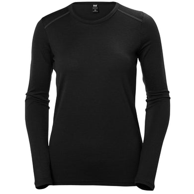 Helly Hansen Women's Merino Mid Long Sleeve in Black from the front