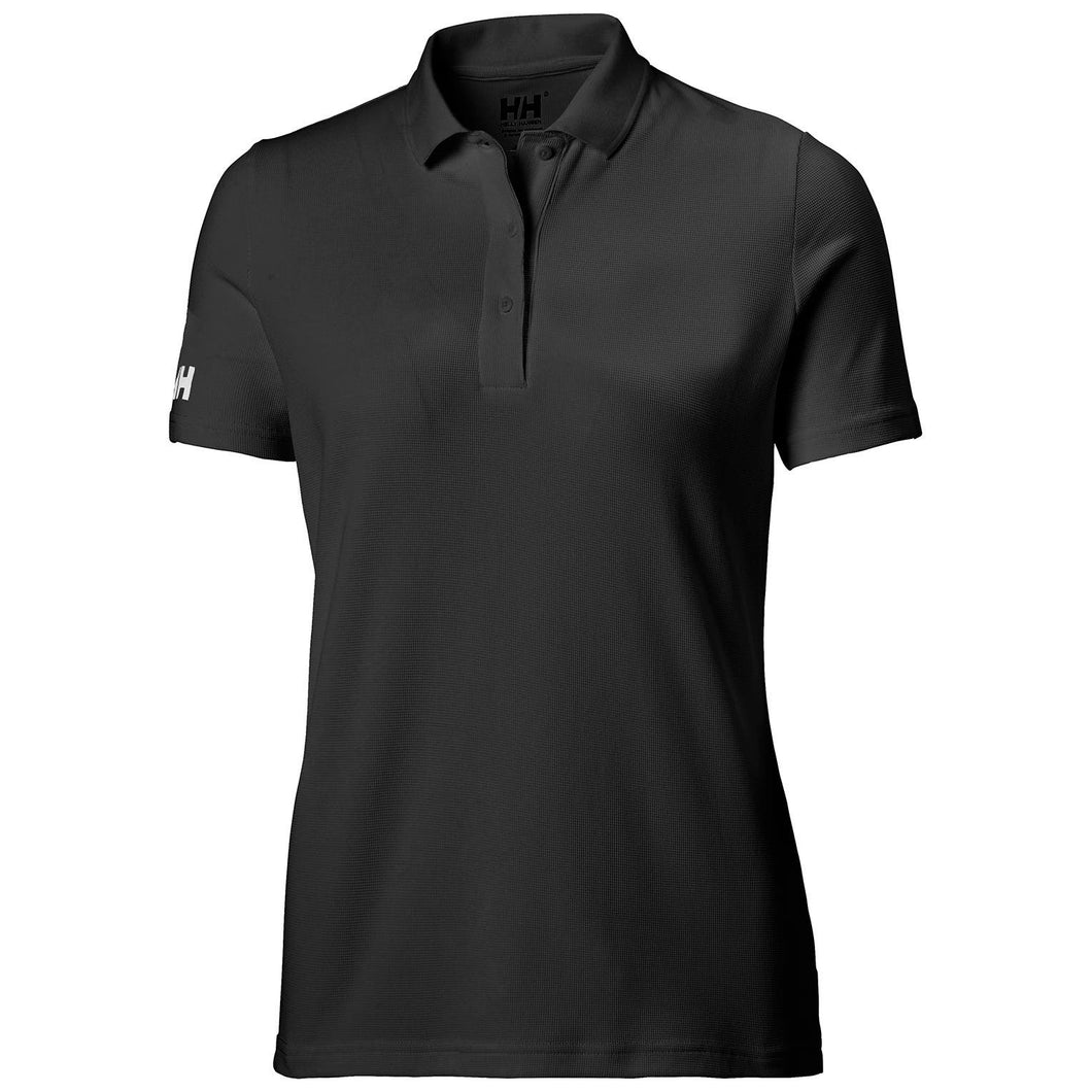 Helly Hansen Women's Tech Crew Polo in Black from the front