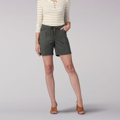 Flex-To-Go Relaxed Fit Drawstring Short in Moss from Front View