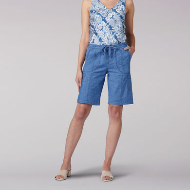 Flex-To-Go Relaxed Fit Pull On Cargo Bermuda Short in Dark Chambray from Front View
