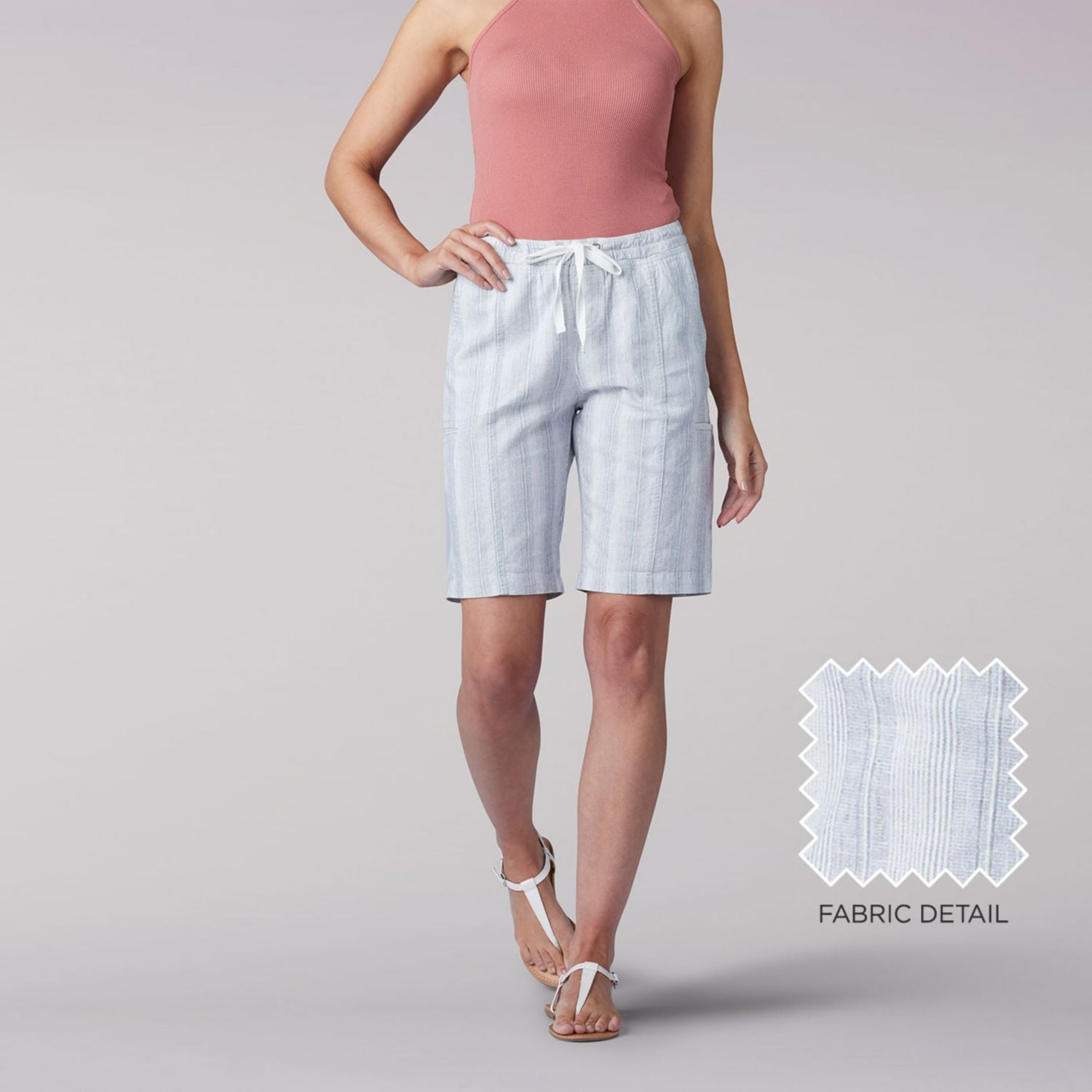 Flex-To-Go Relaxed Fit Pull On Cargo Bermuda Short in Grey White Stripe from Front View