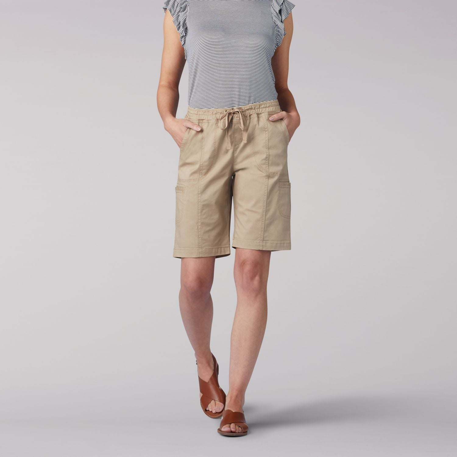Flex-To-Go Relaxed Fit Pull On Cargo Bermuda Short in Tannin from Front View