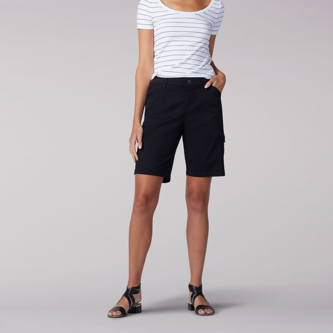 Flex-to-Go Relaxed Fit Cargo Bermuda Short in Black from Front View
