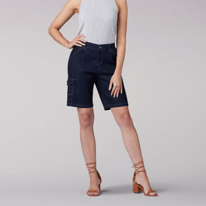 Flex-to-Go Relaxed Fit Cargo Bermuda Short in Rinse from Front View