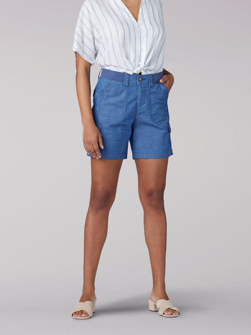 Flex-to-Go Relaxed Fit Cargo Short in Rinse Chambray from Front View