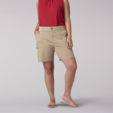 Plus Size Flex-To-Go Relaxed Fit Cargo Walkshort in Tannin from Front View