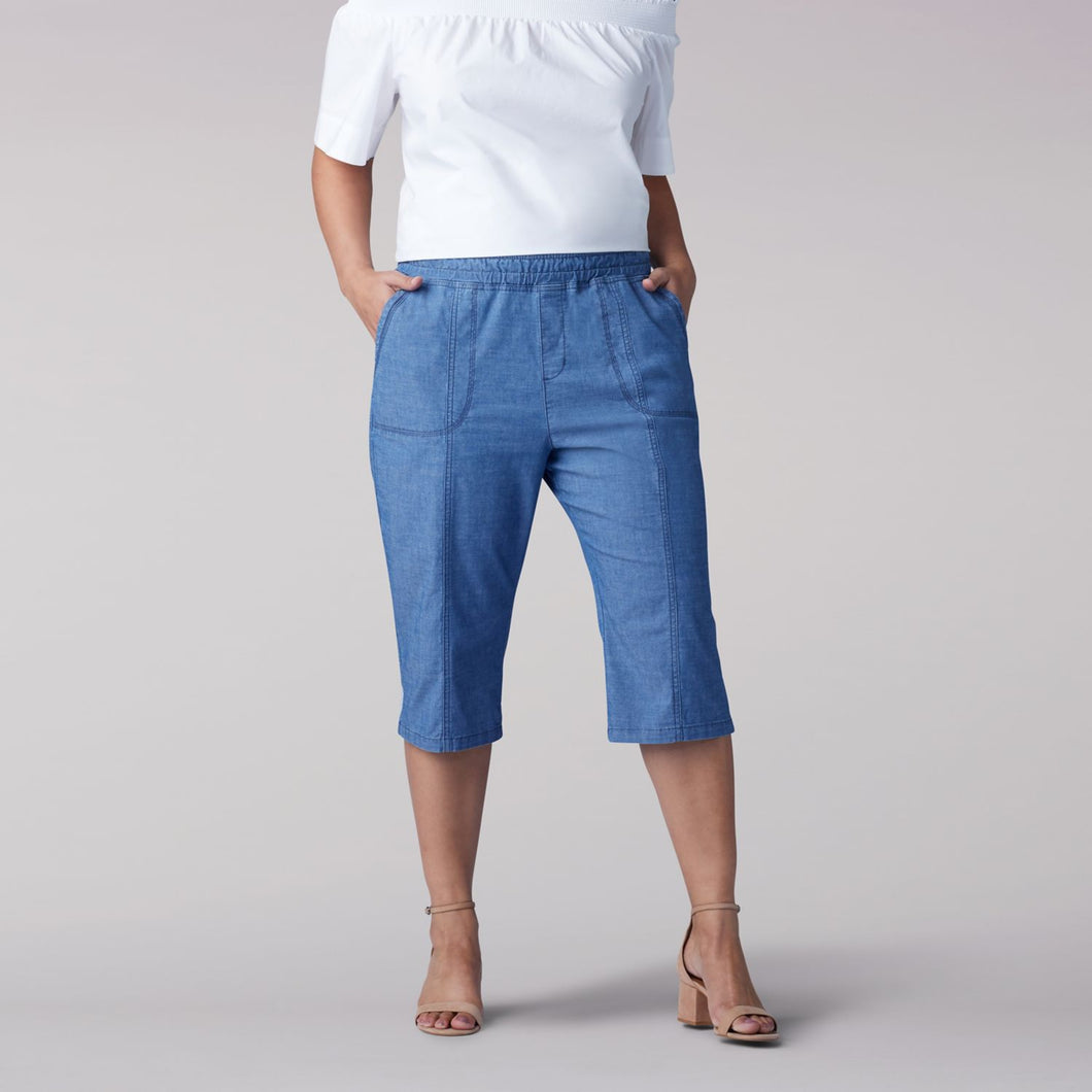 Plus Size Flex-To-Go Relaxed Fit Pull On Utility Skimmer in Dark Chambray from Front View