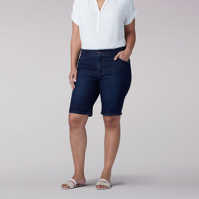Plus Size Flex Motion 5 Pocket Rolled Bermuda Short in Niagara from Front View