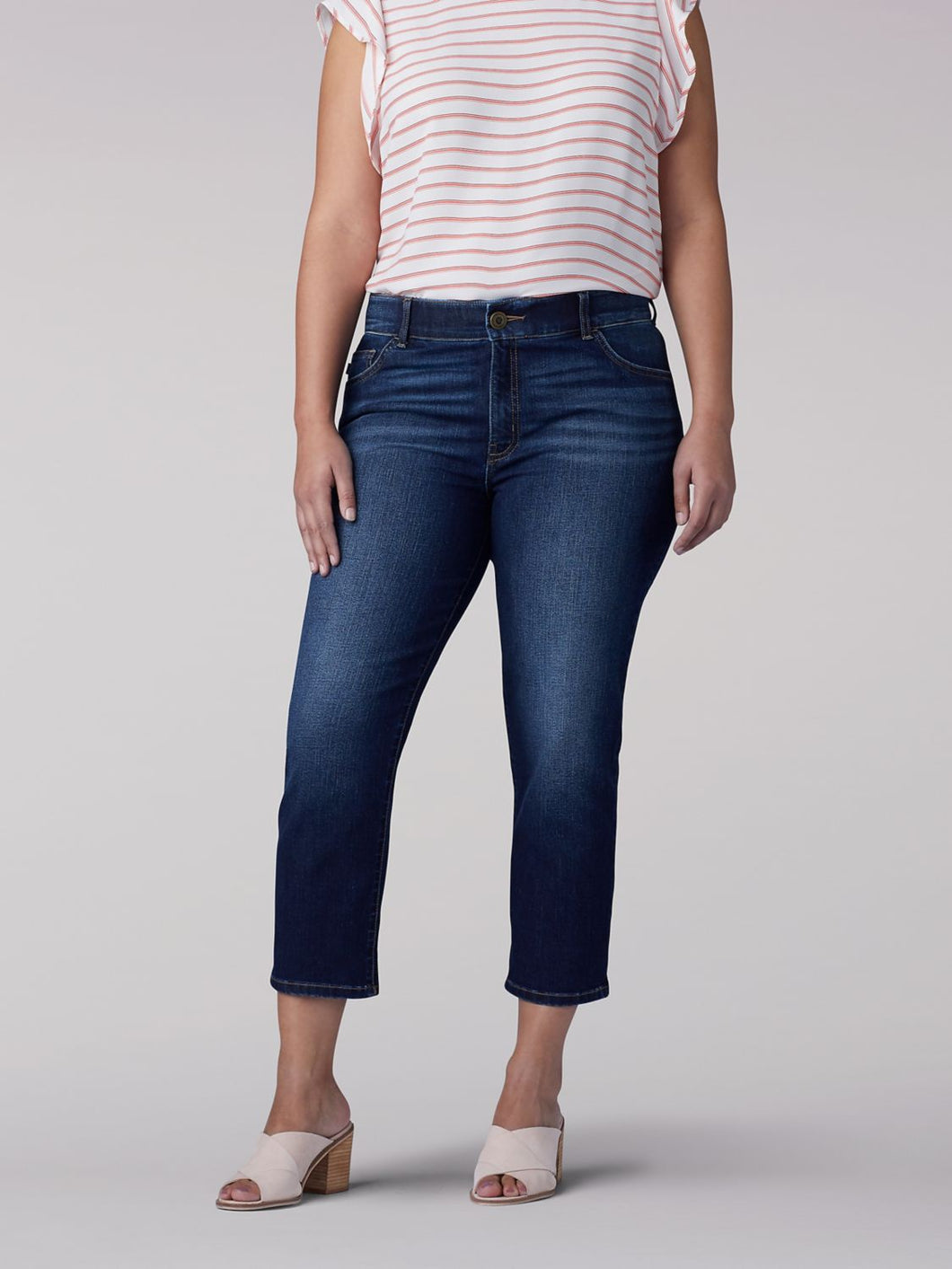 Plus Size Flex Motion Regular Fit Capri Jean in Bewitched from Front View