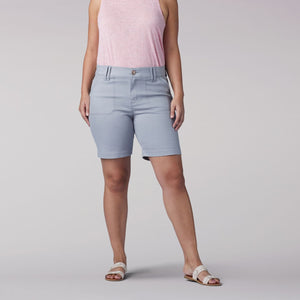 Plus Size Flex Motion Regular Fit Walkshort in Alloy from Front View