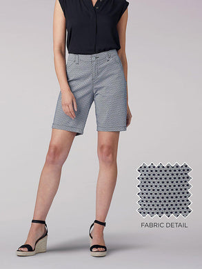 Regular Fit Chino Bermuda Short in Black Starburst from Front View