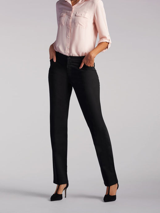 Relaxed Fit Straight Leg Pant All Day Work Pant in Black from Front View