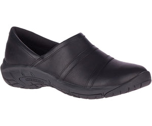Merrell Women's Encore 4 Leather Moccasin Shoe in Black from the side