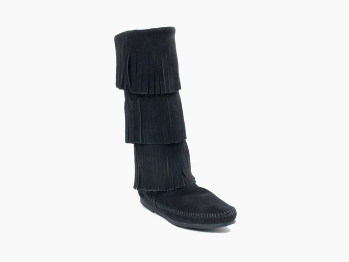 3-Layer Fringe Boot in Black from 3/4 Angle View