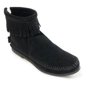 Back Zip Hardsole Boot in Black from 3/4 Angle View
