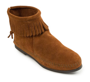 Back Zip Hardsole Boot in Brown from 3/4 Angle View