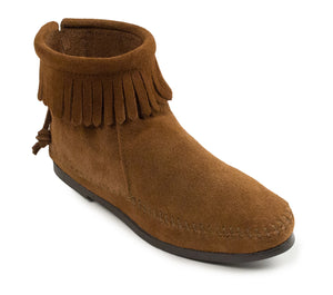 Back Zip Hardsole Boot in Dusty Brown from 3/4 Angle View