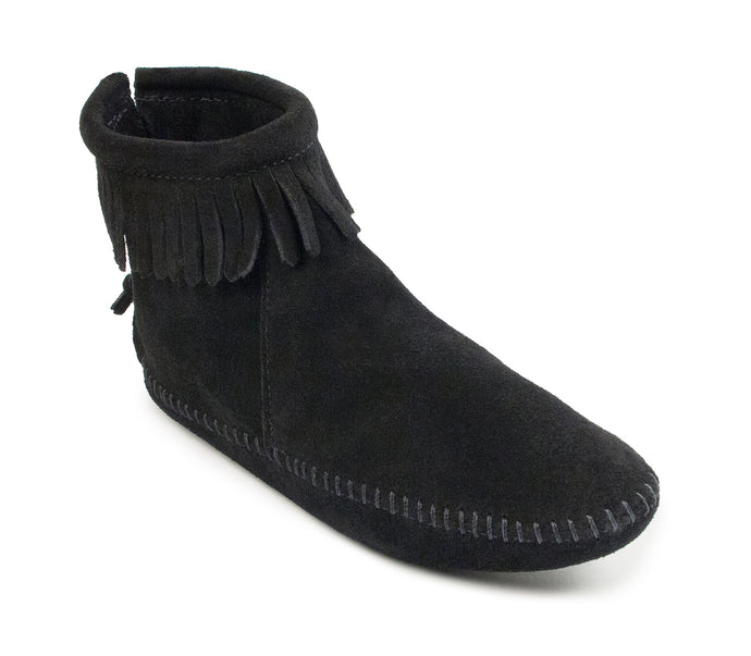 Back Zip Softsole Boot in Black from 3/4 Angle View