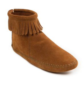 Back Zip Softsole Boot in Brown from 3/4 Angle View