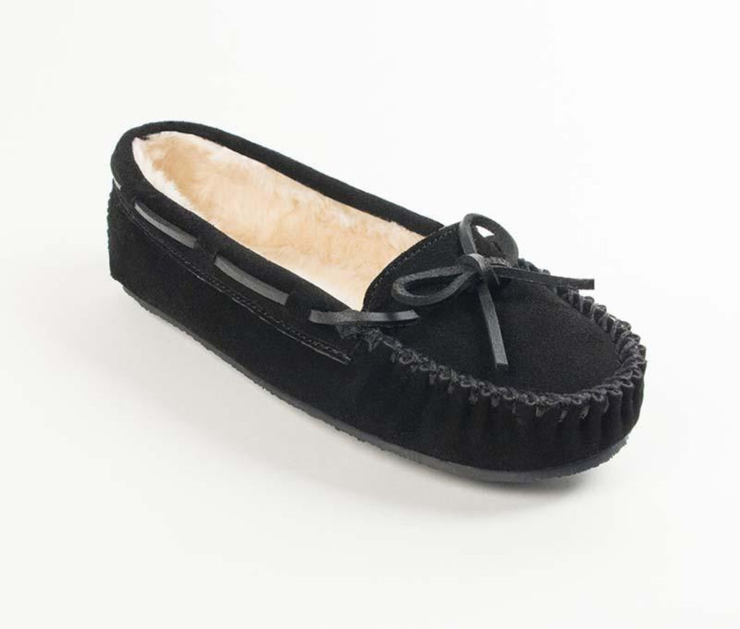 Cally Slipper in Black from 3/4 Angle View