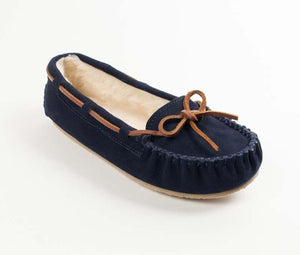 Cally Slipper in Dark Navy from 3/4 Angle View