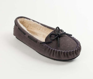 Cally Slipper in Grey from 3/4 Angle View