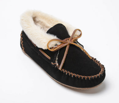 Chrissy Bootie Slipper in Black from 3/4 Angle View