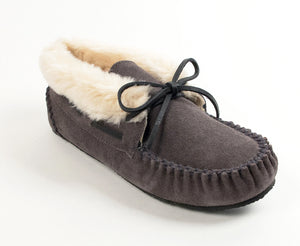 Chrissy Bootie Slipper in Grey from 3/4 Angle View